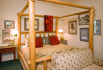 chickasaw rancher themed room with canopy bed