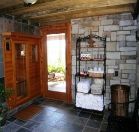 spa entrance, towel rack