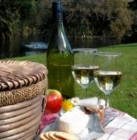 picnic basket set, food and drink
