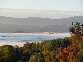 Fog hanging on Great Smoky Mountains