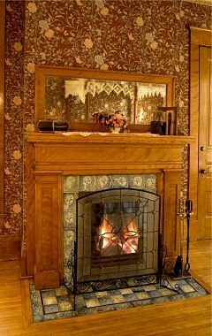 Ornate fireplace in room