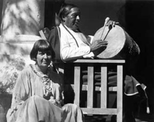 Mabel Dodge and Tony Luhan outside Los Gallos
