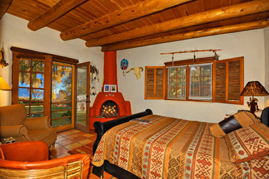 El Pueblo room with Silverado coverlet and southwest decor