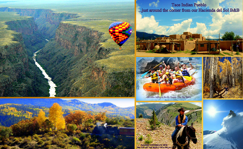 Taos Gorge, Horseback riding in the mountains, Taos Pueblo, White water rafting, Elopement packages