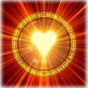 shining gold heart with ring around it red background