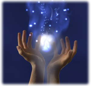 hands holding a ball of light energy
