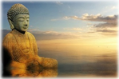 budda statue next to the ocean at sunset or sunrise