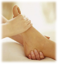 foot reflexology massage hand massaging foot