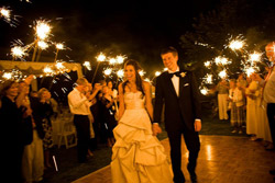 night wedding with sparklers