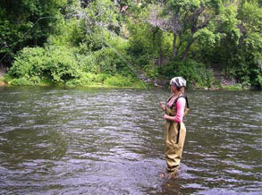 girl fishing in the river