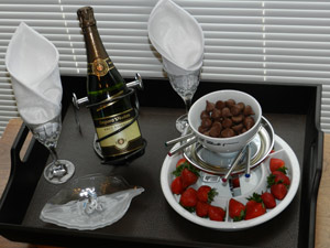 champagne with chocolates and strawberries special package at Stone Gate Inn B&B