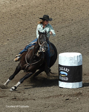 Barrel racing at the Calgary Stampede. Photo by Chuck Szmurlo taken July 10, 2007 at the Calgary Stampede