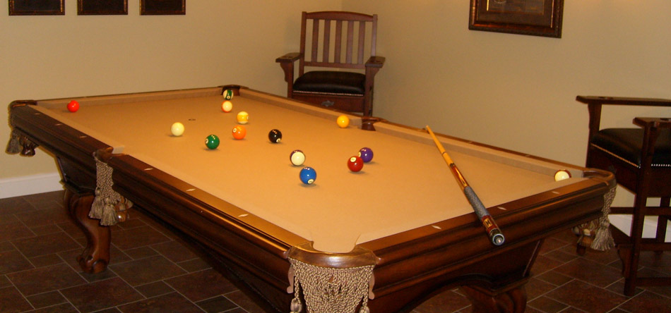 Pool table and chair