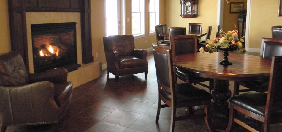 table, chairs, fireplace