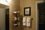 Bathroom area with birdcage