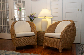 Wicker chairs at Serendipity NJ B & B