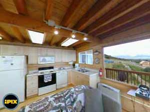 Alaska Adventure Cabins Dovetail Cabin kitchen 360 view