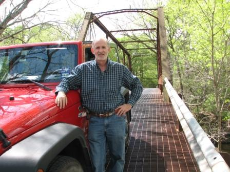 Country Butler Texas with Red Jeep on Bridge