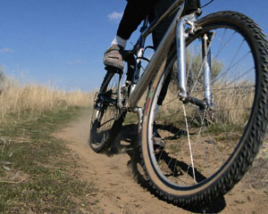 closeup of mountain bike tire