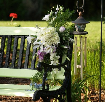 wedding decorated park bench