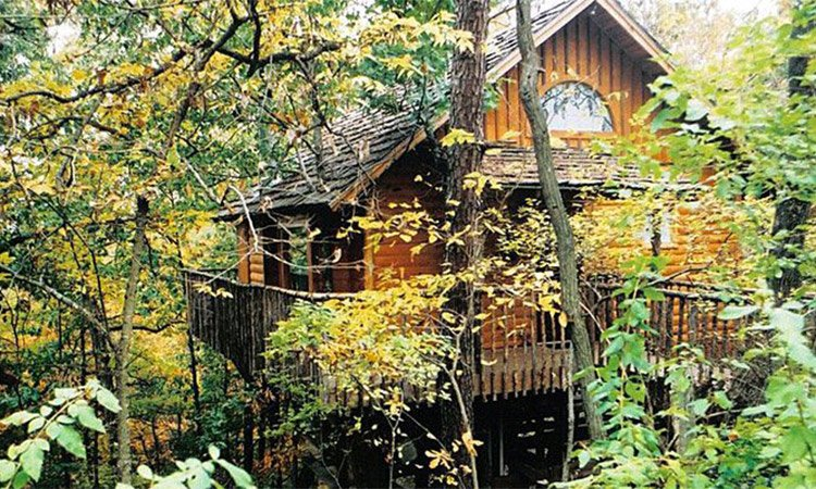 Treehouse cottages eureka springs ar hideaway treehouse for Tree house cabins arkansas