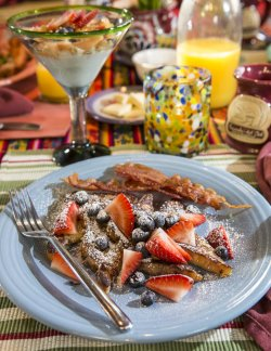Cinnamon French toast, fresh fruit, orange juice, yogurt parfait