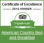 American Country Bed and Breakfast tripadvisor certificate of excellence