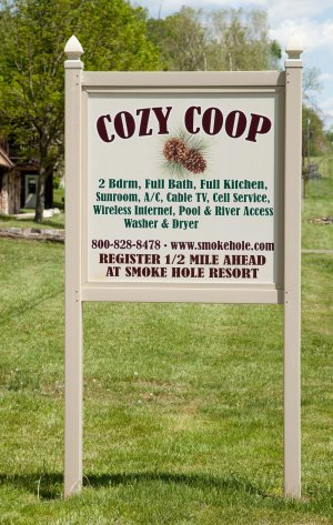 Cozy Coop Family Lodging at Smoke Hole Resort