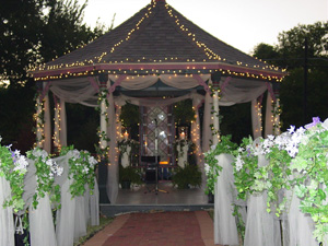 Inn of Many Faces gazebo decorated for wedding
