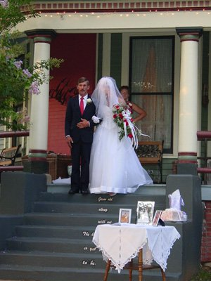 Father and Bride walking down steps