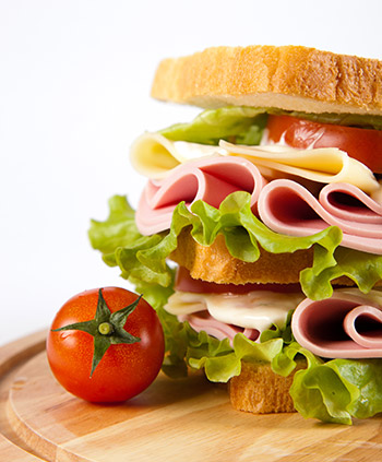 Huge sandwich with tomatoes