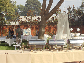 outdoor catered wedding meal