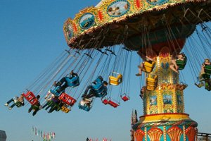 picture of swinging carnival ride at Chautauqua County Fair