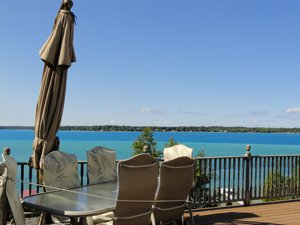 patio furniture with a view of Torch Lake