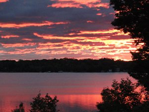 orange sunset over Torch Lake