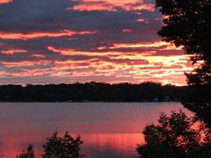 orange sunset over Torch Lake