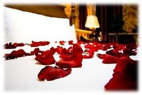 Silk rose petals on a bed at Berry Springs Lodge