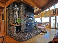 fireplace with suit of armor