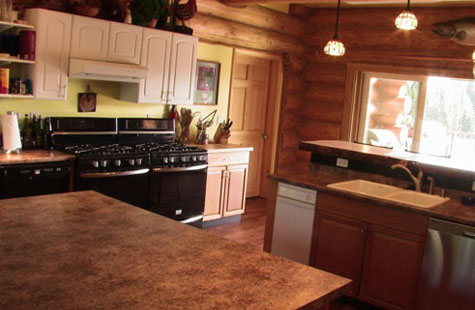 large kitchen in Alaska log lodge
