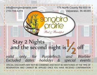 Songbird Prairie Multi-Night Special coupon