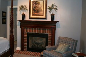 fireplace in Bluebird Suite of Songbird Prairie