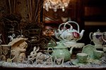 tea set with rabbit and cherub