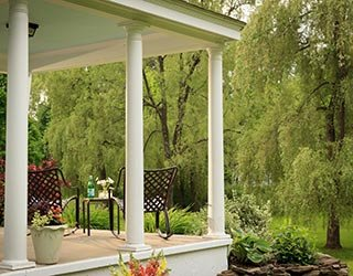 Covered Porch Area for Groups at Garden Gables Inn in Lenox, MA