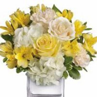 White Hydrangea and Yellow Roses Floral Arrangement