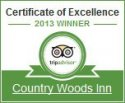 Country Woods Inn TripAdvisor Certificate of Excellence 2013