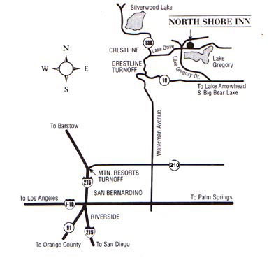 Map to the North Shore Inn