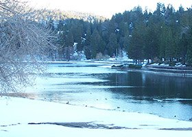 winter at The North Shore Inn  in Crestline, California