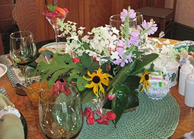 flowers and fancy fruit cups at 1868 Crosby House in Brattleboro, Vermont