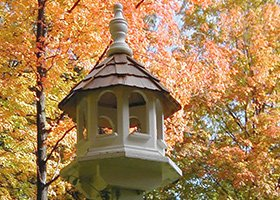 birdhouse in the garden of 1868 Crosby House in Brattleboro, Vermont