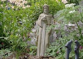 Statue in the gardens of 1868 Crosby House in Brattleboro, Vermont